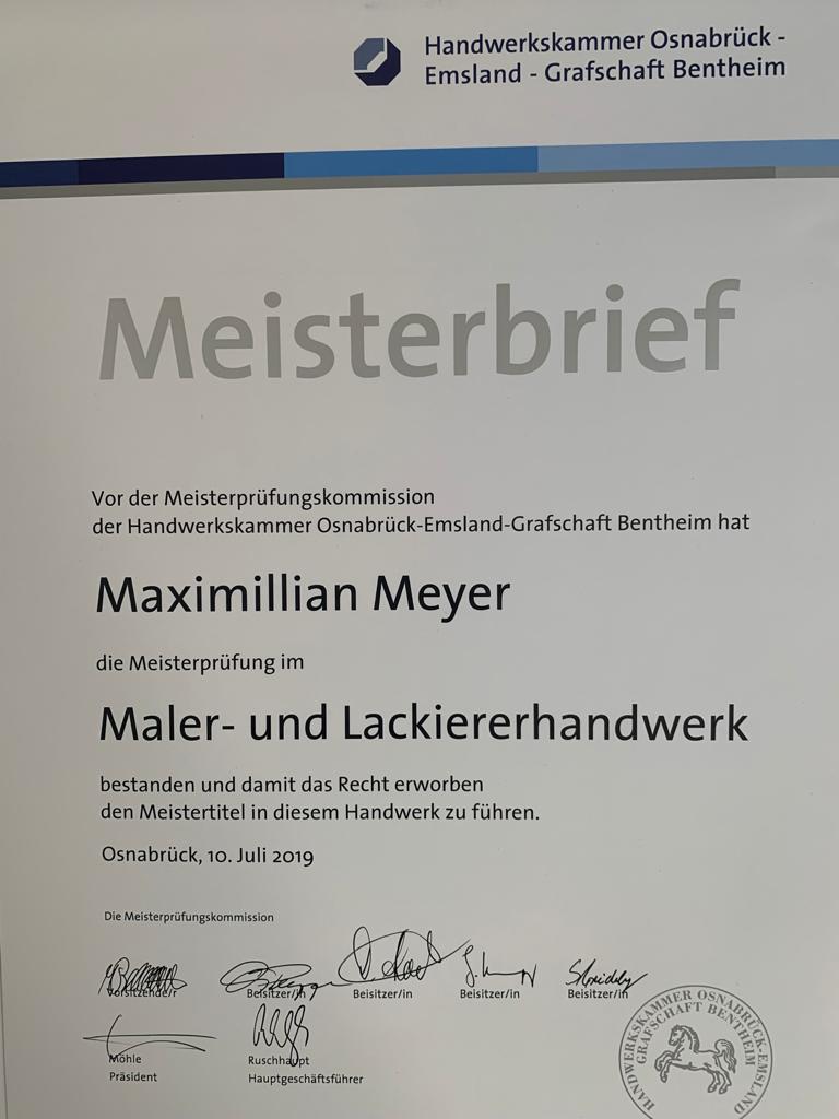 Meisterbrief Maximillian